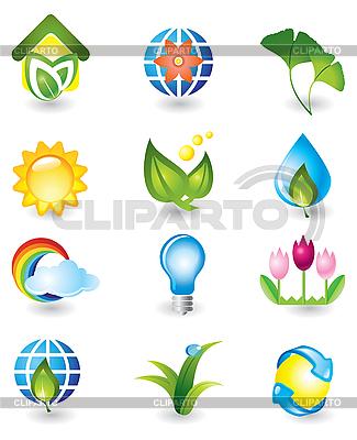 Zestaw elementów przyrody | Klipart wektorowy |ID 3055806