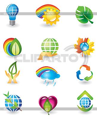 Zestaw ikon przyrody | Klipart wektorowy |ID 3055808