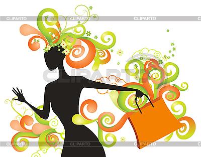 异想天开的购物女孩 | 向量插图 |ID 3055876