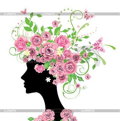 Kobieta z różami | Klipart wektorowy |ID 3067747