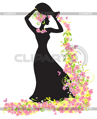 Женский силуэт с цветами