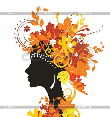 Dekoracyjne sylwetka kobiety z liści jesienią | Klipart wektorowy |ID 3074440