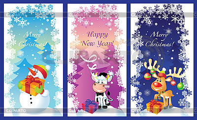 Three Christmas cards with snowman, bull and deer | Stock Vector Graphics |ID 3074478