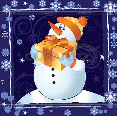 Kartka świąteczna z Snowman | Klipart wektorowy |ID 3074546