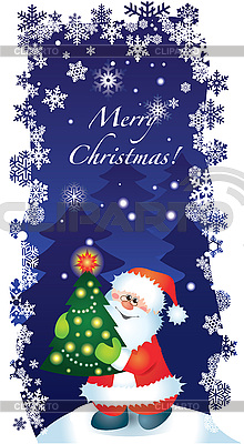 Kartka świąteczna z Mikołajem | Klipart wektorowy |ID 3074610