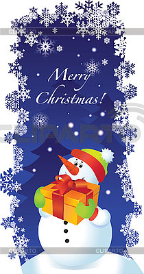 Christmas card with Snowman | Stock Vector Graphics |ID 3074620
