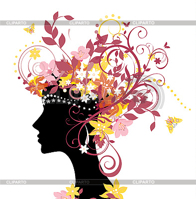 Woman with flowers | Stock Vector Graphics |ID 3074626