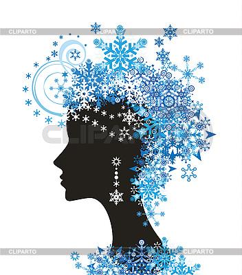Dekoracyjne sylwetka kobiety z śnieżynkami | Klipart wektorowy |ID 3074634