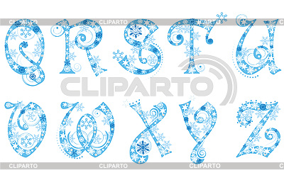 Christmas alphabet with snowflakes | Stock Vector Graphics |ID 3076770