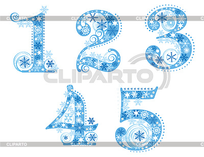 Digits with snowflakes | Stock Vector Graphics |ID 3076772