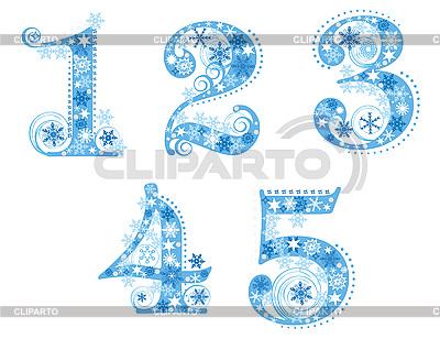 Cyfry z płatki śniegu | Klipart wektorowy |ID 3076772