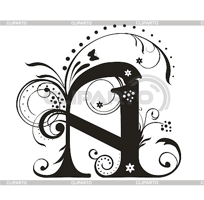 Decorative Letter With Flowers For Design