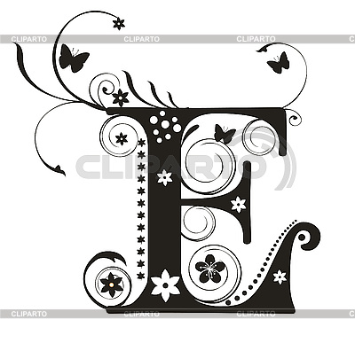 Decorative letter E with flowers for design | Stock Vector Graphics |ID 3077312
