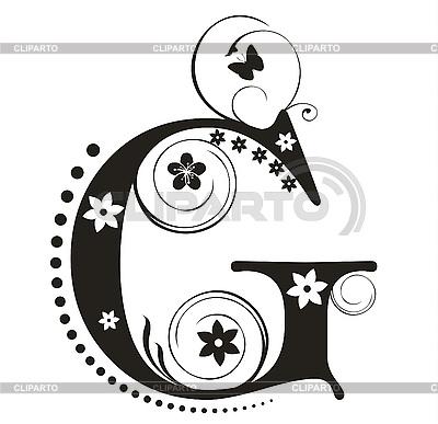 用鲜花装饰字母G设计 | 向量插图 |ID 3077316