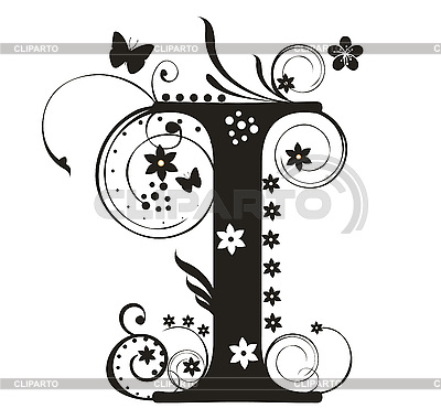 decorative letter i with flowers for design stock vector graphics