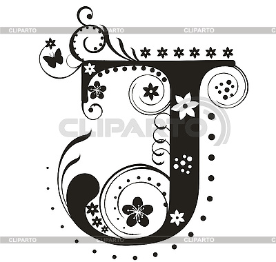 Decorative Letter J With Flowers For Design