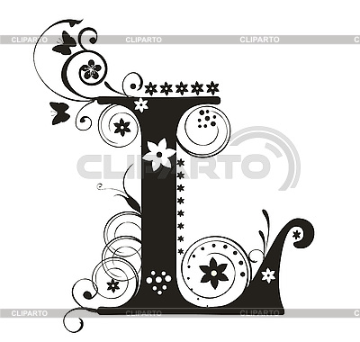 decorative letter l with flowers for design stock vector. Black Bedroom Furniture Sets. Home Design Ideas