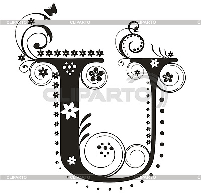 Decorative Letter U With Flowers For Design Stock Vector Graphics