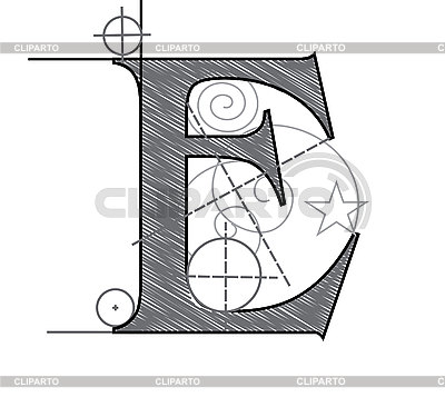 Decorative drawing initial letter E | Stock Vector Graphics |ID 3077880