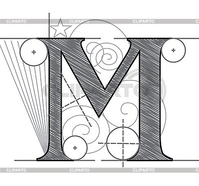 Decorative drawing initial letter M | Stock Vector Graphics |ID 3077896