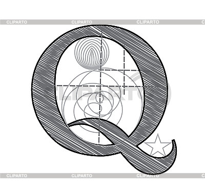 Decorative drawing initial letter Q | Stock Vector Graphics |ID 3077924