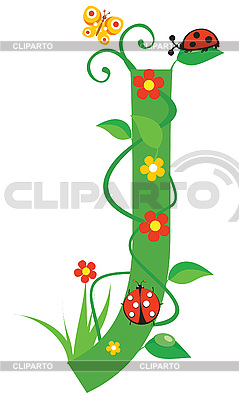 Decorative flower letter J | Stock Vector Graphics |ID 3078385