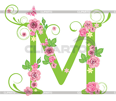 decorative letter m with roses stock vector graphics cliparto
