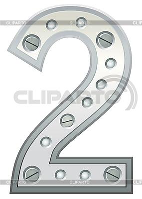 Metallische Ziffer Zwei | Stock Vektorgrafik |ID 3078489