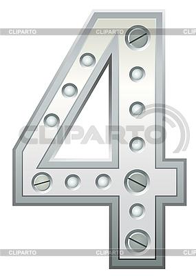 Metallic cyfra cztery | Klipart wektorowy |ID 3078493