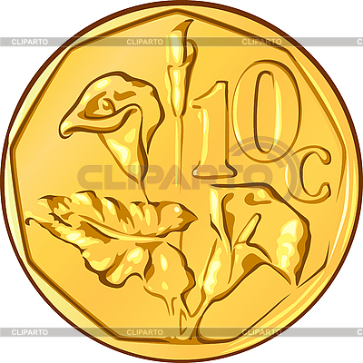 South African gold coinwith flower aloe | Stock Vector Graphics |ID 3049291