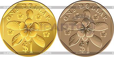 Singapore Dollar jednej monety | Klipart wektorowy |ID 3049561