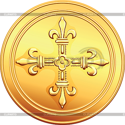 Gold coin French ecu reverse | Stock Vector Graphics |ID 3049567