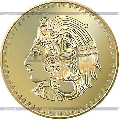 Mexican coin with the image of the Indian | Stock Vector Graphics |ID 3060134