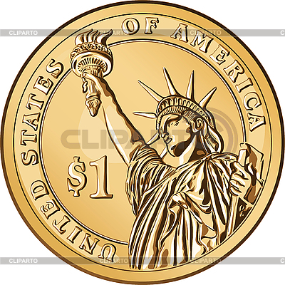 American gold coin one dollar | Stock Vector Graphics |ID 3060671