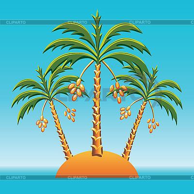 Trzy palmy na wyspie na oceanie | Klipart wektorowy |ID 3062349