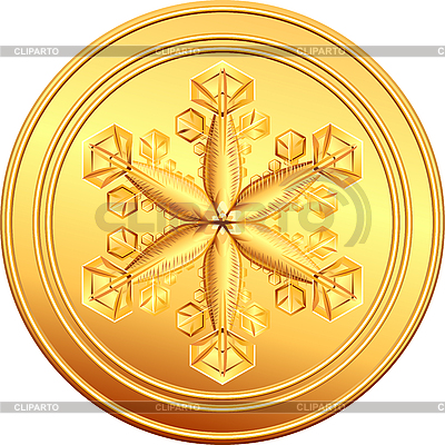 Gold coin with snowflake   Stock Vector Graphics  ID 3066689