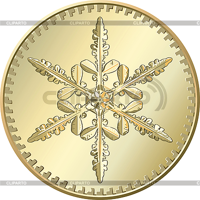 Gold coin with snowflake | Stock Vector Graphics |ID 3066691