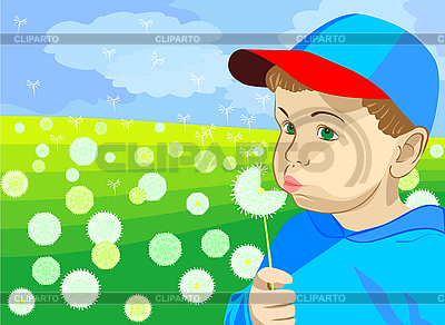 Little boy blowing on dandelion in the meadow | Stock Vector Graphics |ID 3070628