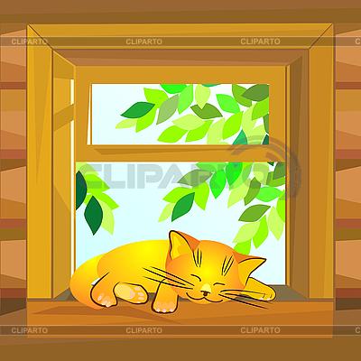 Cat on the windowsill | Stock Vector Graphics |ID 3070649