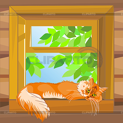 Red tabby cat lying on the windowsill | Stock Vector Graphics |ID 3070664