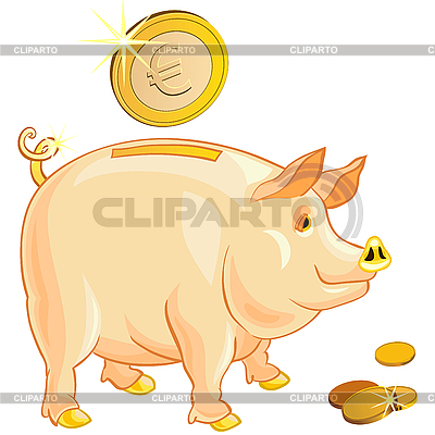 Piggy bank with gold euro coins | Stock Vector Graphics |ID 3076797