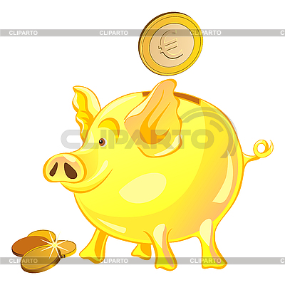 Piggy bank with gold coins | Stock Vector Graphics |ID 3076800