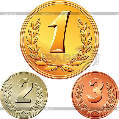 Satz von Gold-, Silber-und Bronzemedaillen | Stock Vektorgrafik |ID 3077265