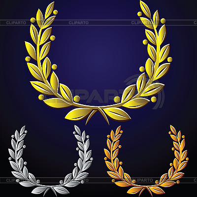 Conjunto de coronas de laurel | Ilustración vectorial de stock |ID 3077267