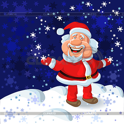 Happy Santa Claus and snowflakes | Stock Vector Graphics |ID 3079406