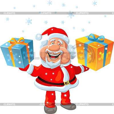 Happy Santa Claus holding gifts | Stock Vector Graphics |ID 3080173