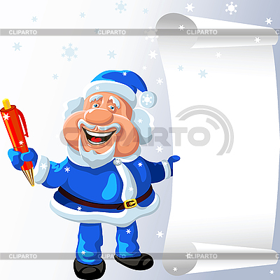 Santa Claus with pen and scroll | Stock Vector Graphics |ID 3080365