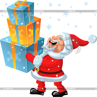 Happy Santa Claus brings many gifts in the hands | Stock Vector Graphics |ID 3081313