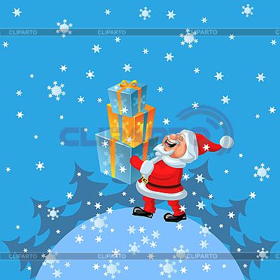 Happy Santa Claus brings many gifts   Stock Vector Graphics  ID 3081366