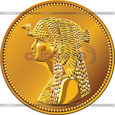 Egyptian gold coin with queen Cleopatra | Stock Vector Graphics |ID 3081516
